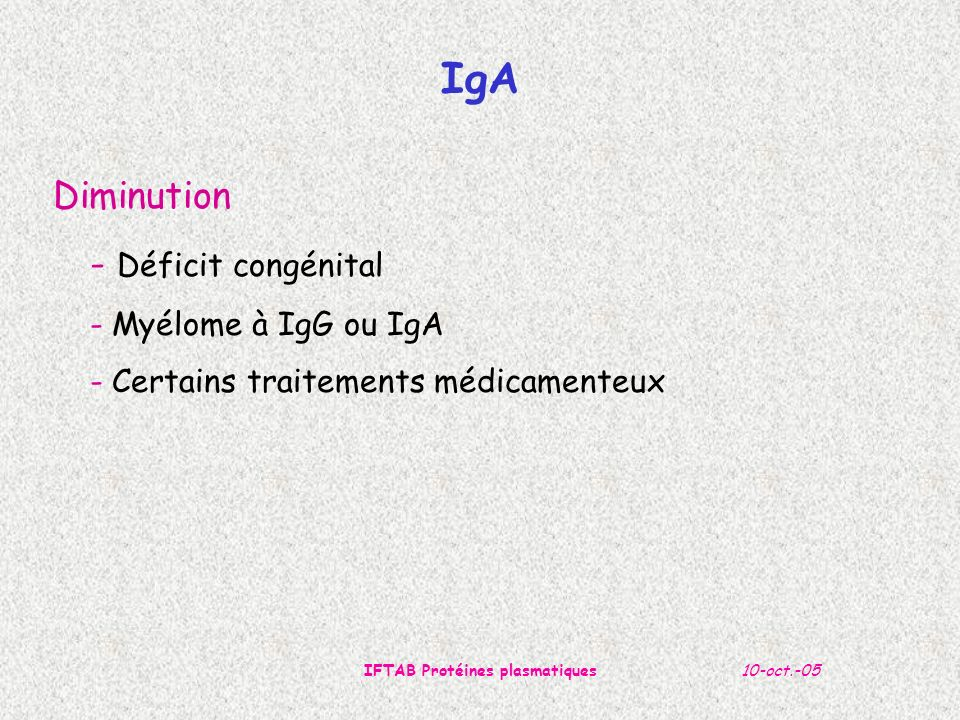 IFTAB Protéines plasmatiques
