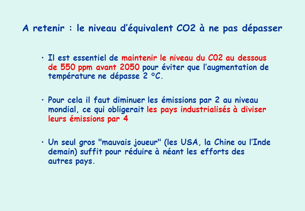 A retenir : le niveau d'équivalent CO2 à ne pas dépasser