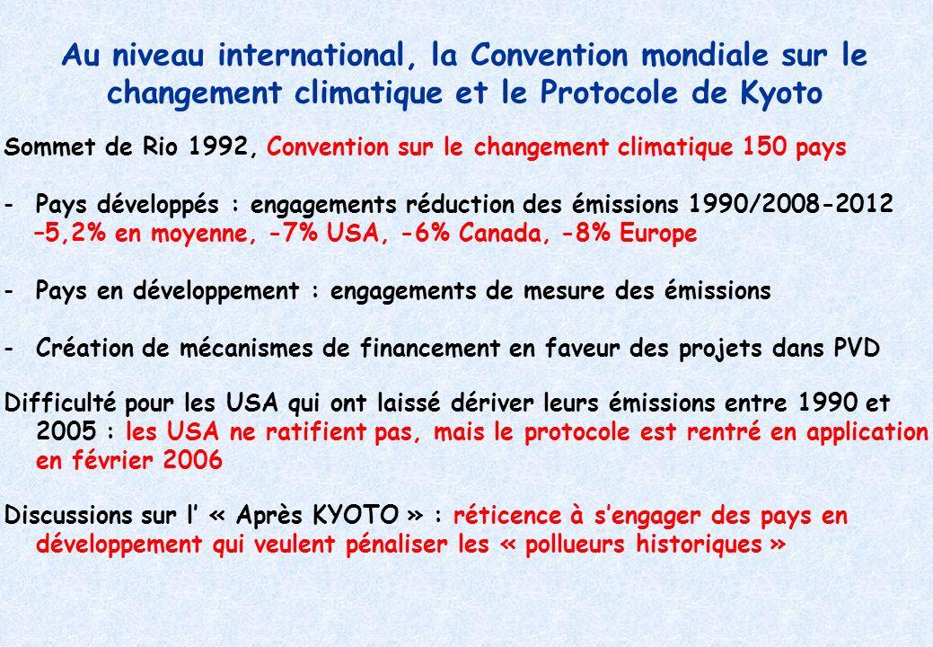 Au niveau international, la Convention mondiale sur le changement climatique et le Protocole de Kyoto