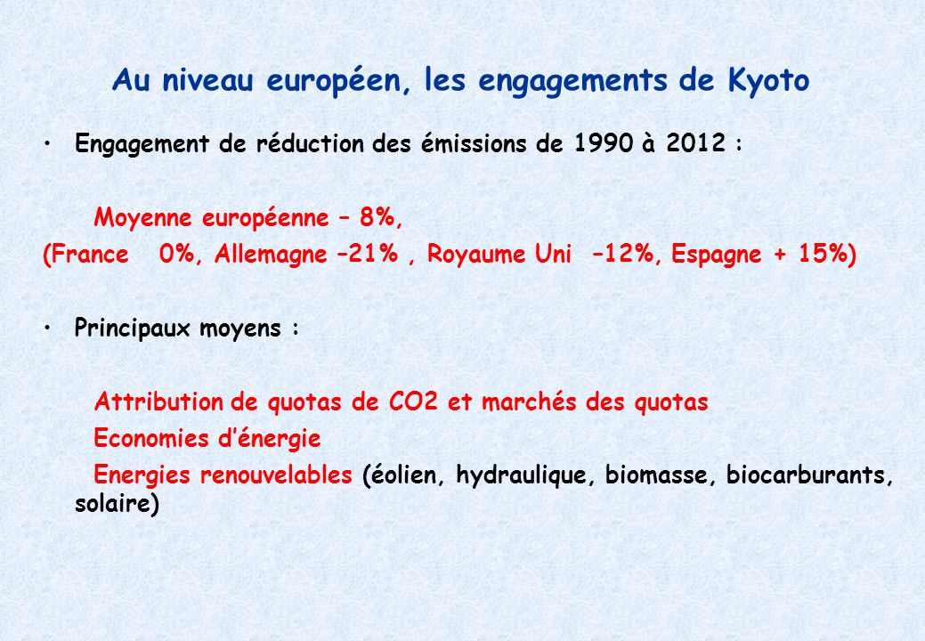 Au niveau européen, les engagements de Kyoto