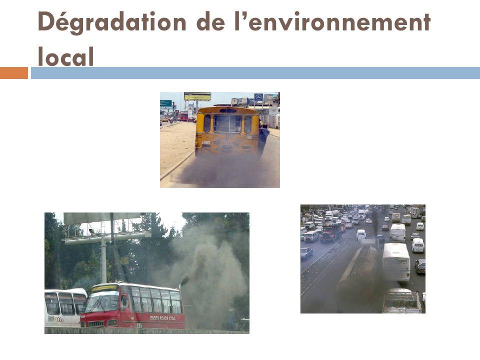 Dégradation de l'environnement local