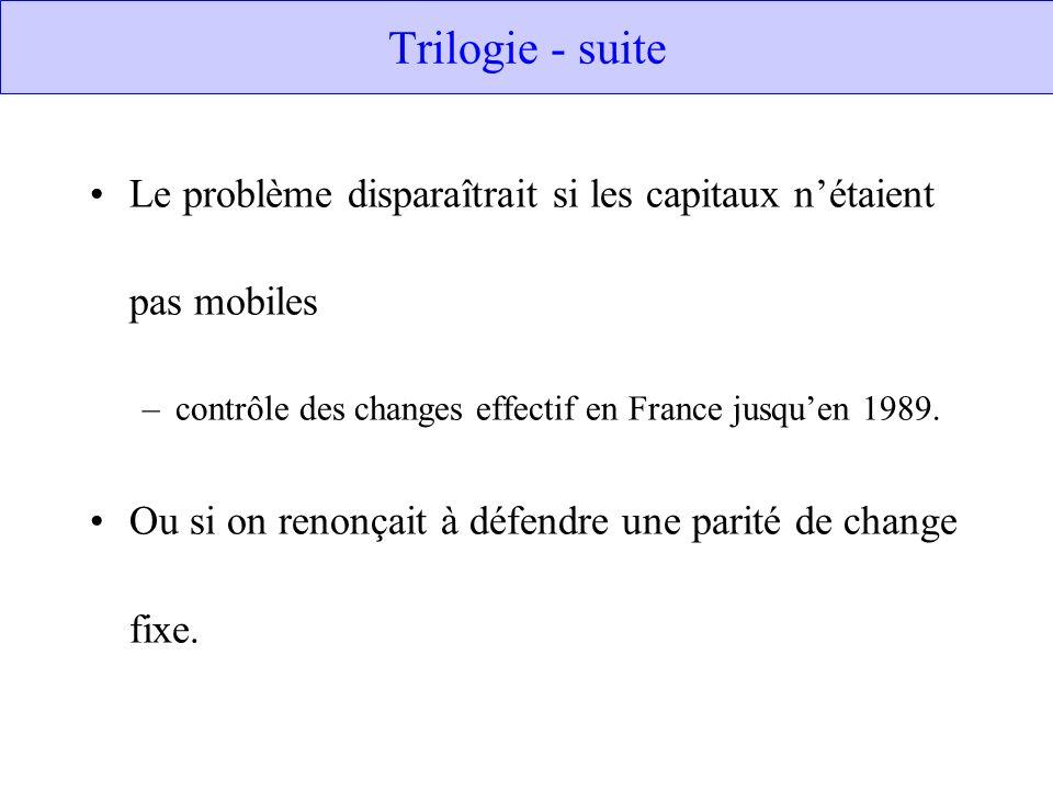 Trilogie - suite Le problème disparaîtrait si les capitaux n'étaient pas mobiles contrôle des changes effectif en France jusqu'en 1989.