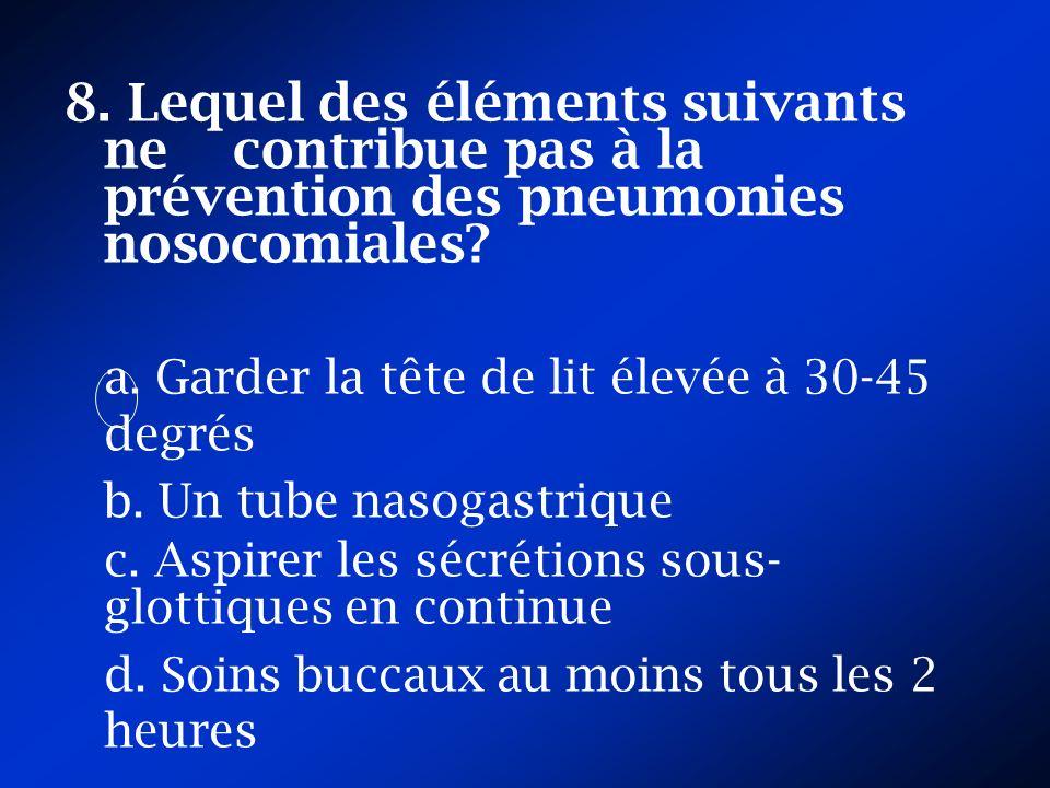 8. Lequel des éléments suivants ne contribue pas à la prévention des pneumonies nosocomiales
