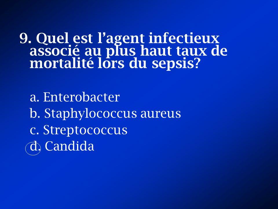 9. Quel est l'agent infectieux associé au plus haut taux de mortalité lors du sepsis