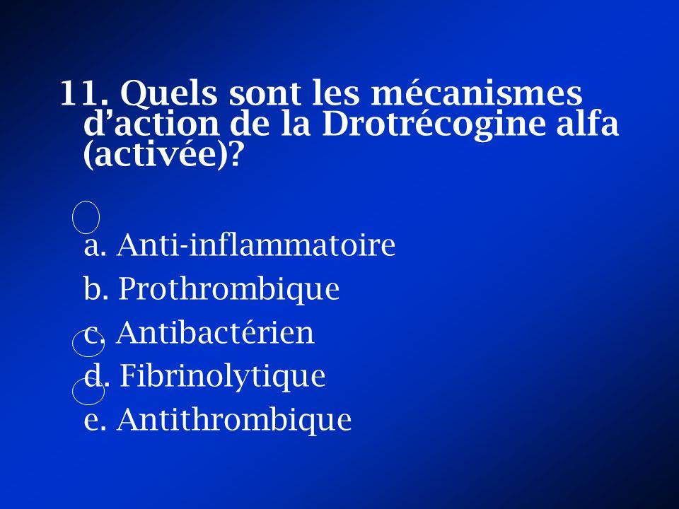 11. Quels sont les mécanismes d'action de la Drotrécogine alfa (activée)