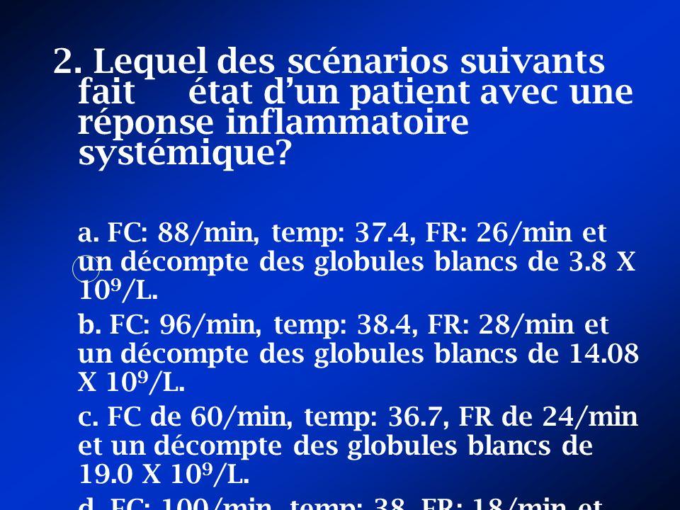 2. Lequel des scénarios suivants fait état d'un patient avec une réponse inflammatoire systémique