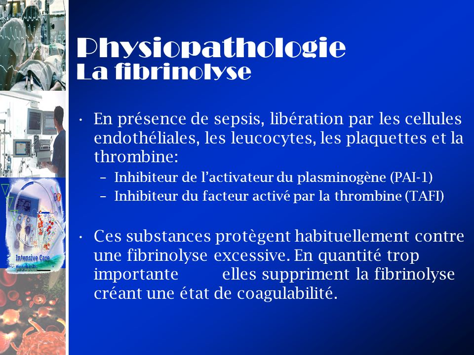 Physiopathologie La fibrinolyse