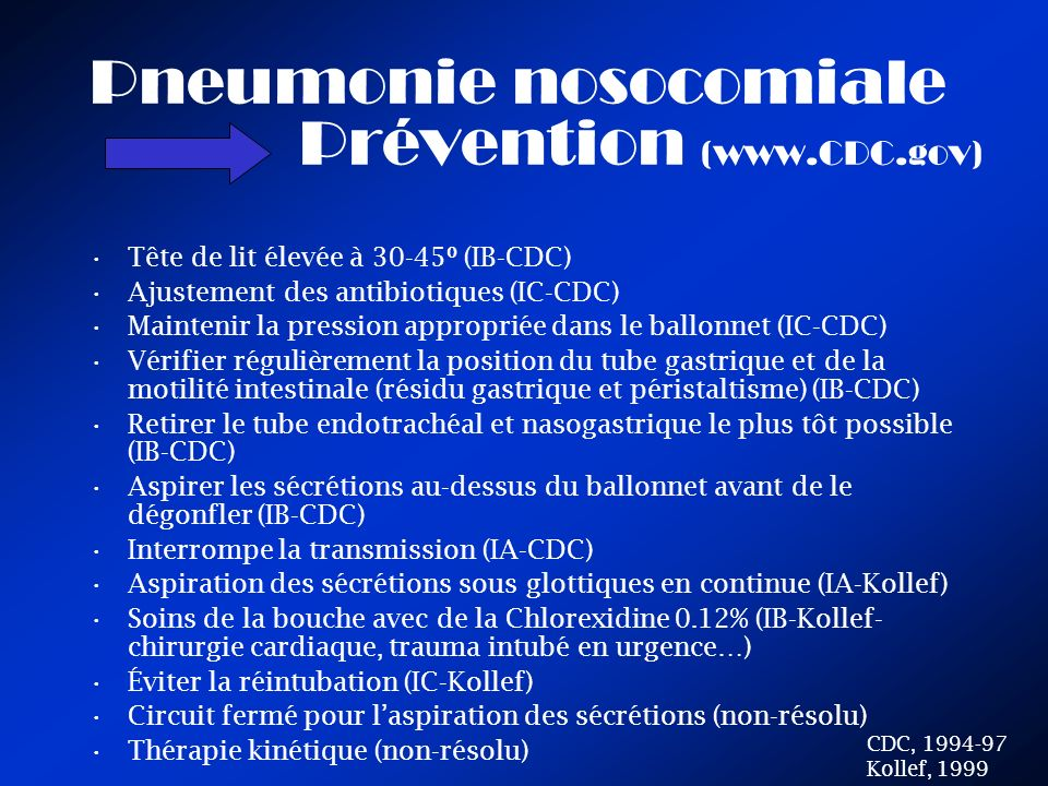 Pneumonie nosocomiale Prévention (www.CDC.gov)