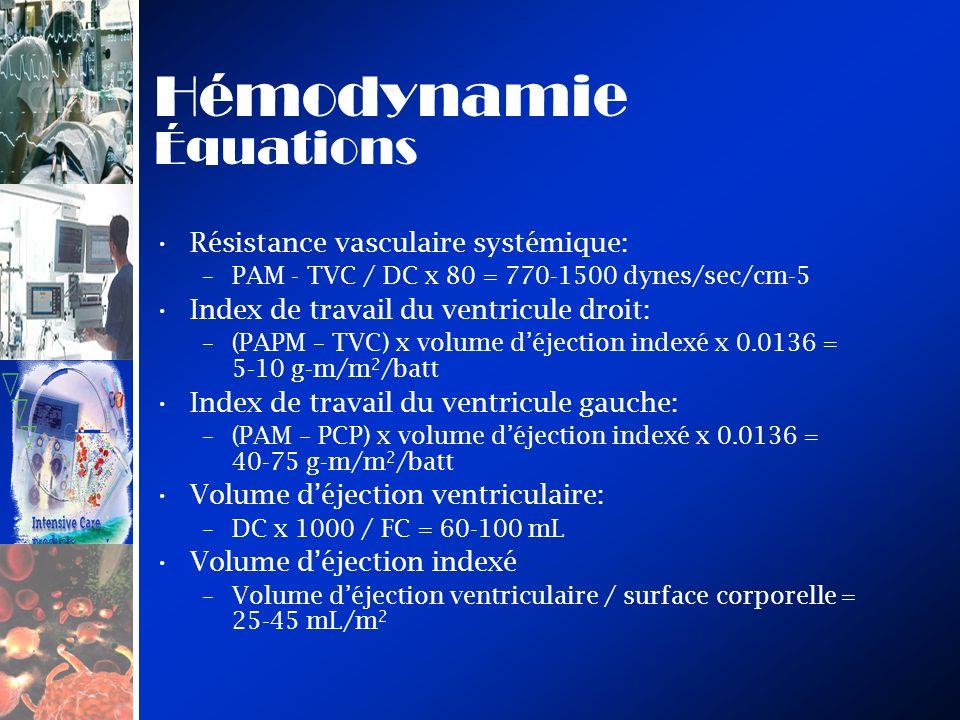 Hémodynamie Équations