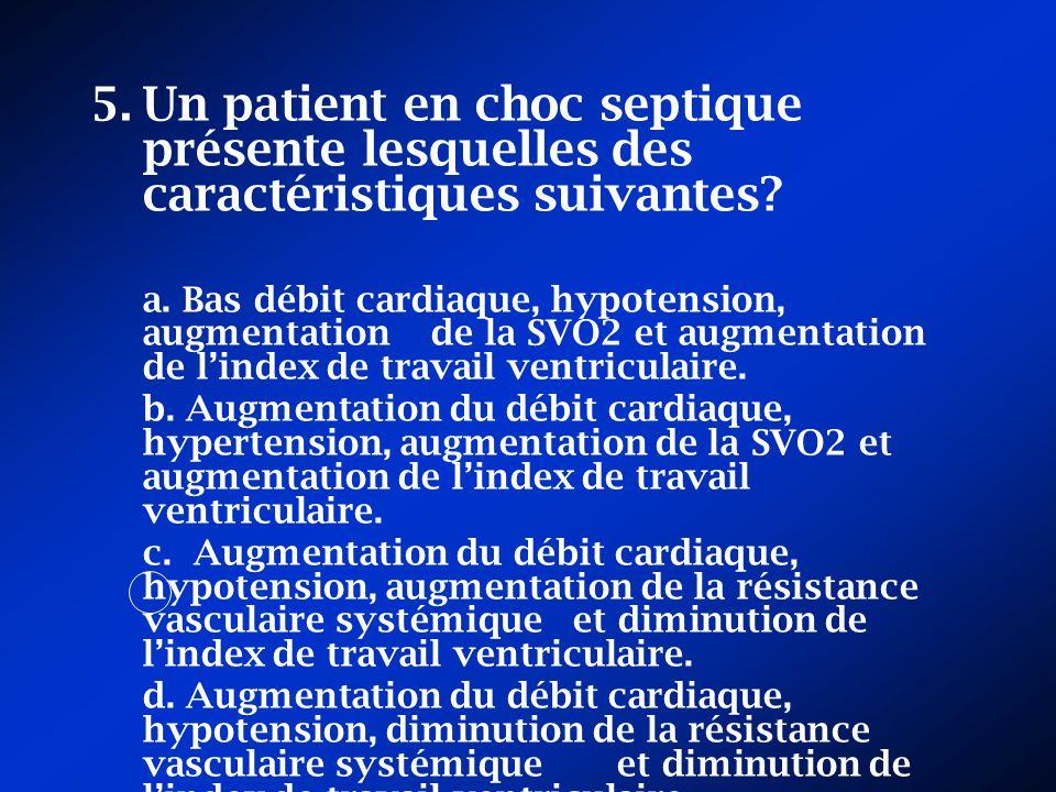 Un patient en choc septique présente lesquelles des caractéristiques suivantes