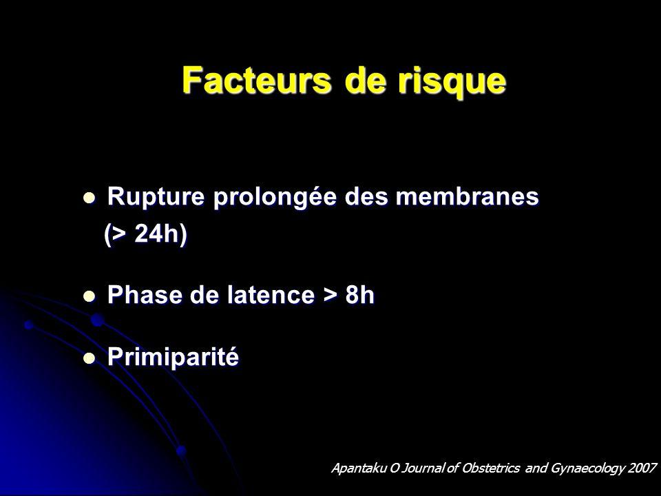 Facteurs de risque Rupture prolongée des membranes (> 24h)
