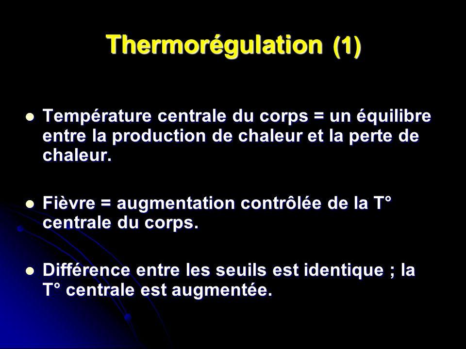 Thermorégulation (1) Température centrale du corps = un équilibre entre la production de chaleur et la perte de chaleur.