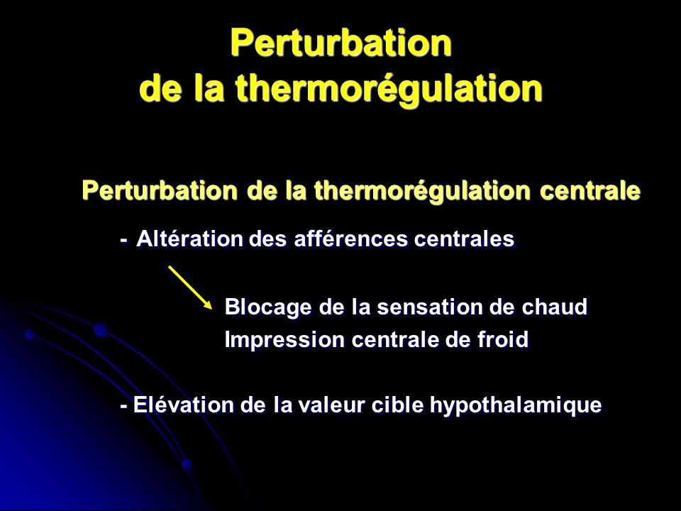 Perturbation de la thermorégulation