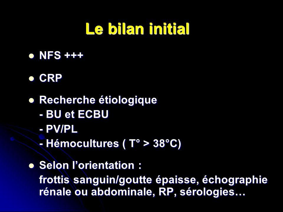 Le bilan initial NFS +++ CRP Recherche étiologique - BU et ECBU