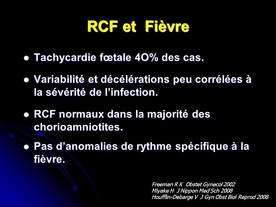 RCF et Fièvre Tachycardie fœtale 4O% des cas.