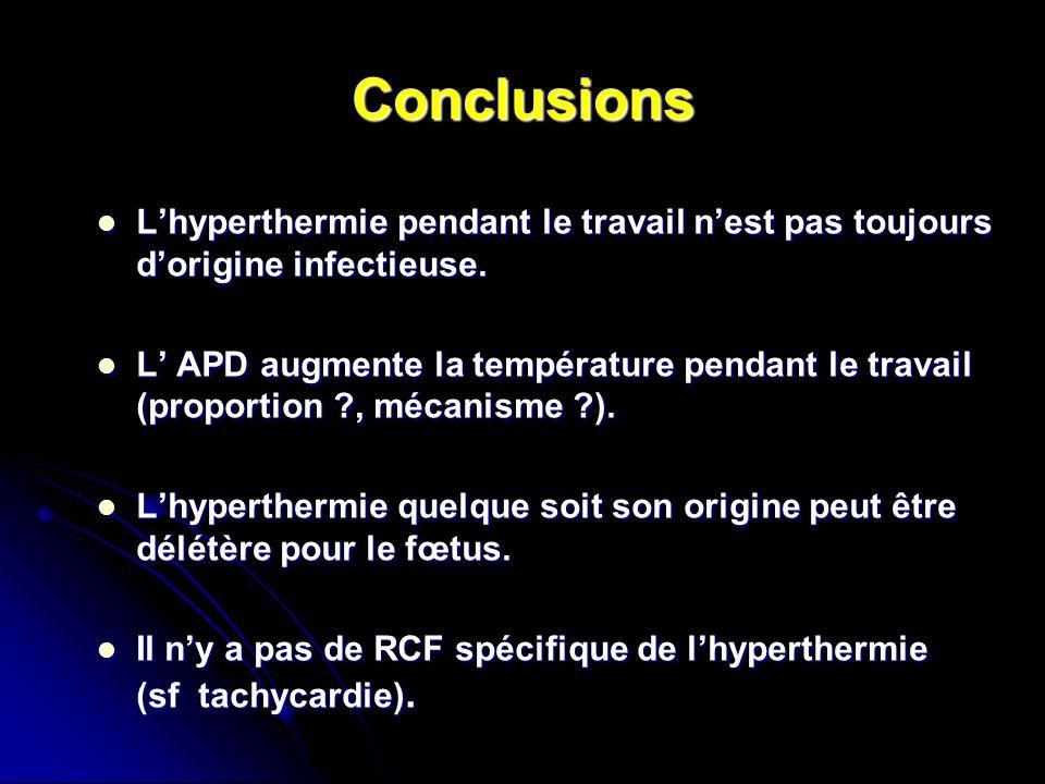 Conclusions L'hyperthermie pendant le travail n'est pas toujours d'origine infectieuse.