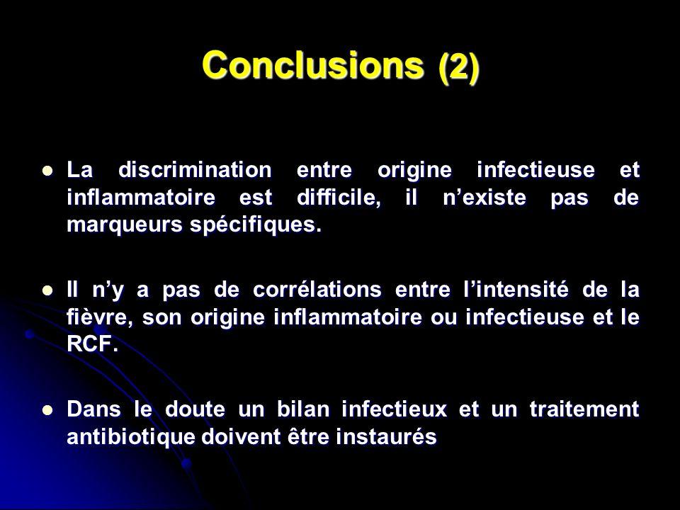 Conclusions (2) La discrimination entre origine infectieuse et inflammatoire est difficile, il n'existe pas de marqueurs spécifiques.