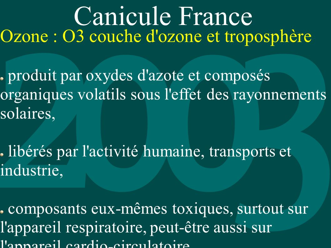 Canicule France Ozone : O3 couche d ozone et troposphère