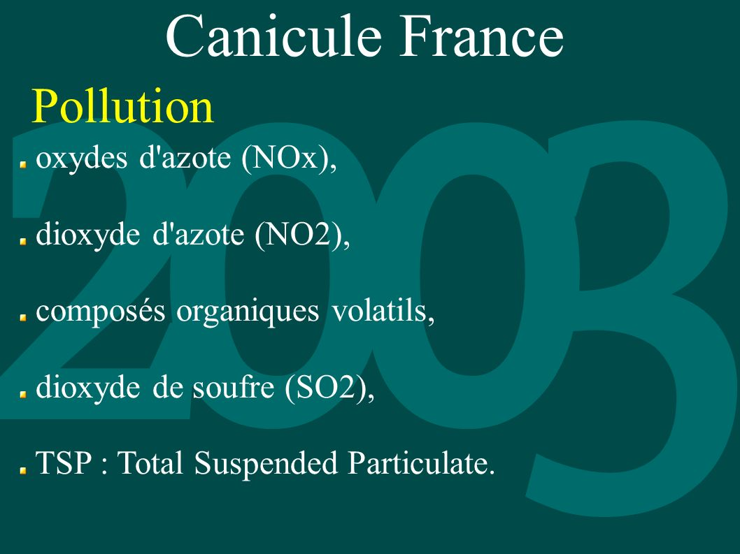 Canicule France Pollution oxydes d azote (NOx), dioxyde d azote (NO2),