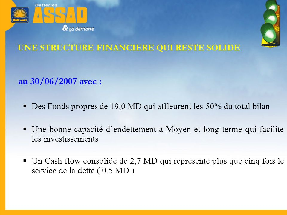 UNE STRUCTURE FINANCIERE QUI RESTE SOLIDE
