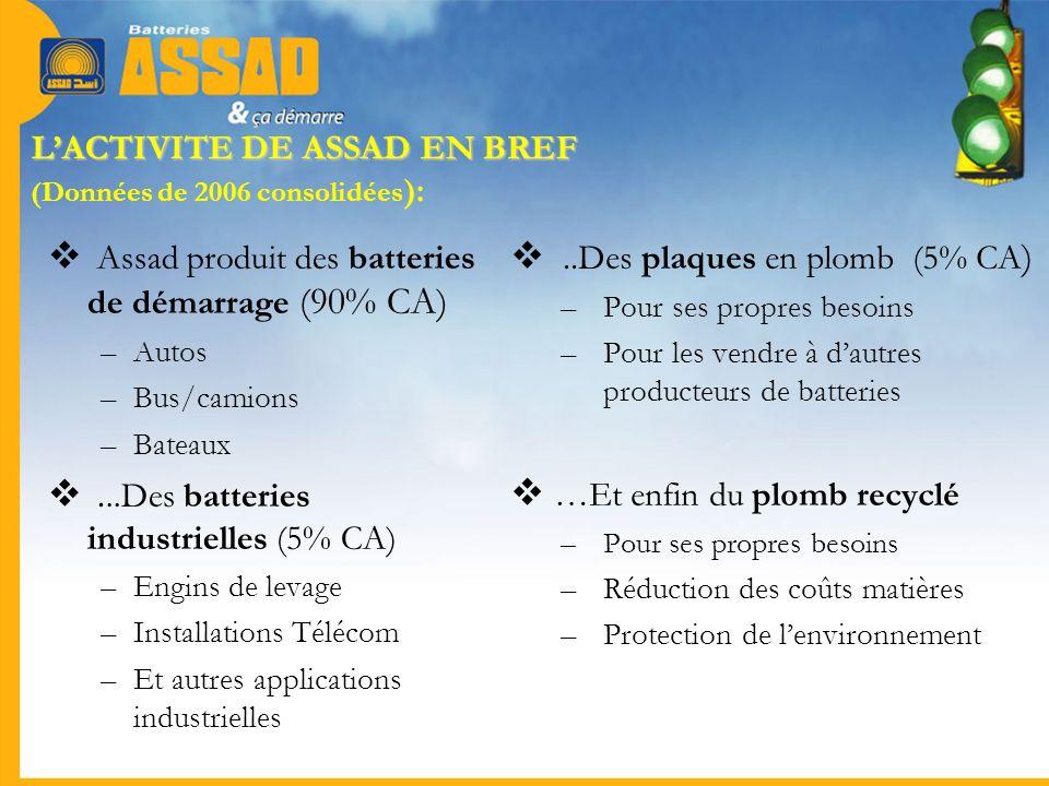 L'ACTIVITE DE ASSAD EN BREF (Données de 2006 consolidées):