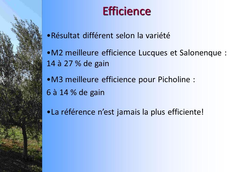 Efficience Résultat différent selon la variété