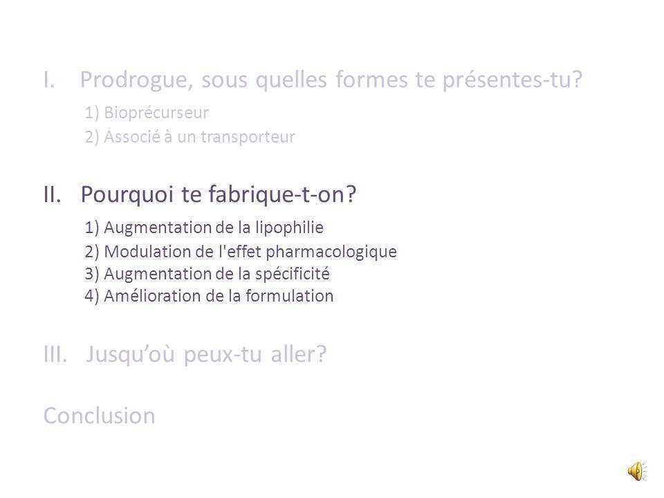 I. Prodrogue, sous quelles formes te présentes-tu 1) Bioprécurseur