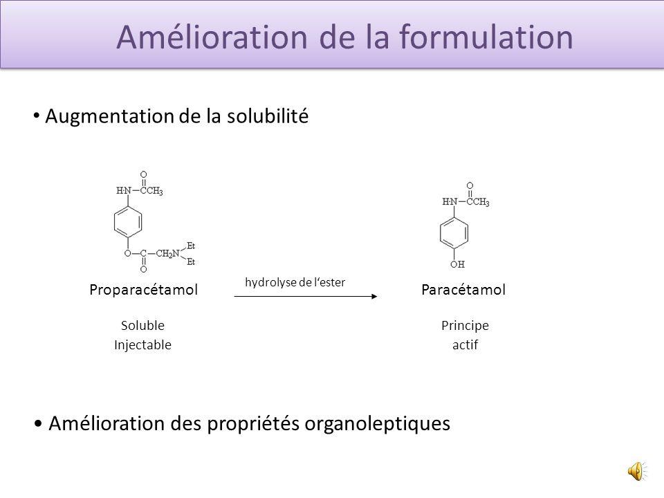Amélioration de la formulation