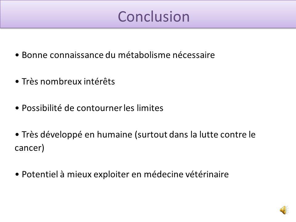 Conclusion Bonne connaissance du métabolisme nécessaire