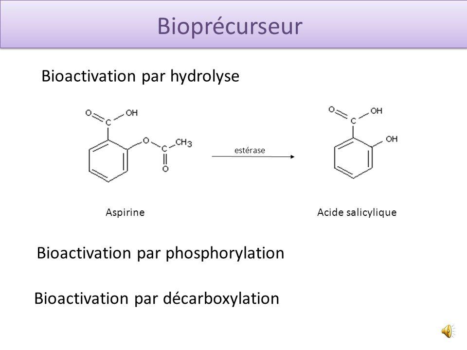 Bioprécurseur Bioactivation par hydrolyse