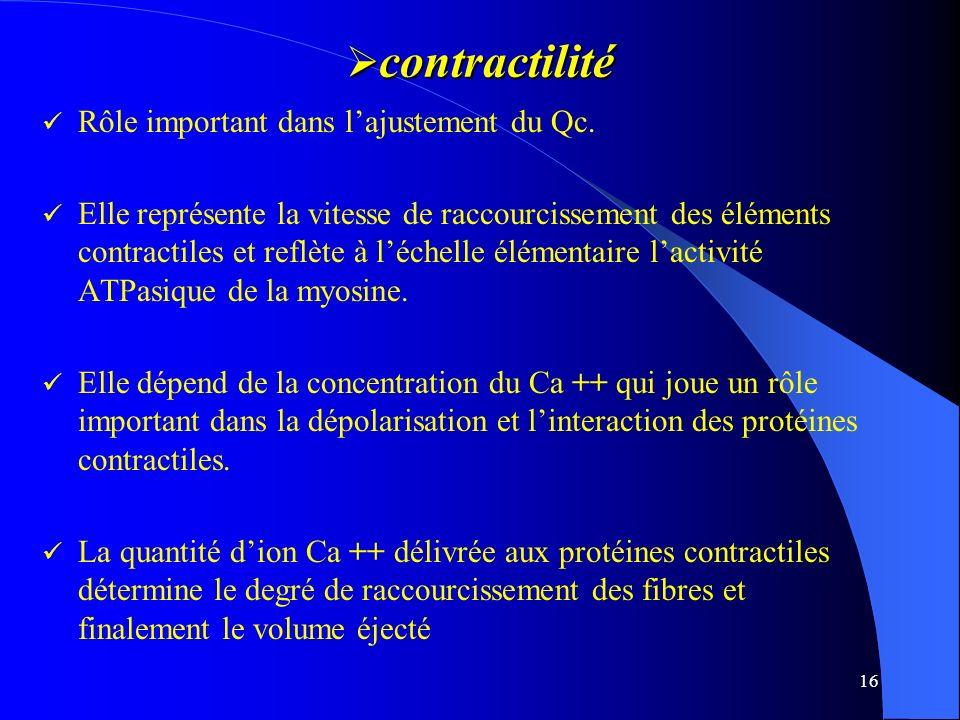 contractilité Rôle important dans l'ajustement du Qc.