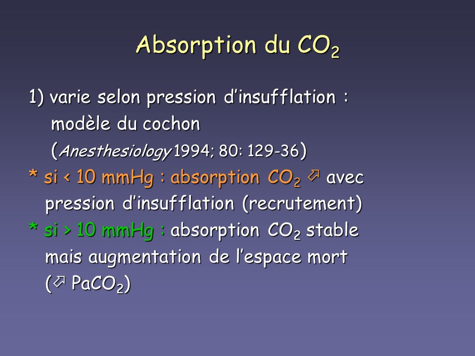 Absorption du CO2 1) varie selon pression d'insufflation :