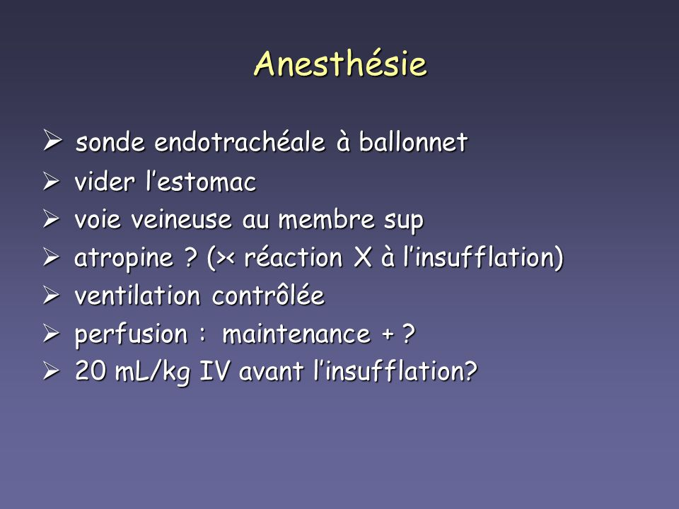 Anesthésie sonde endotrachéale à ballonnet vider l'estomac