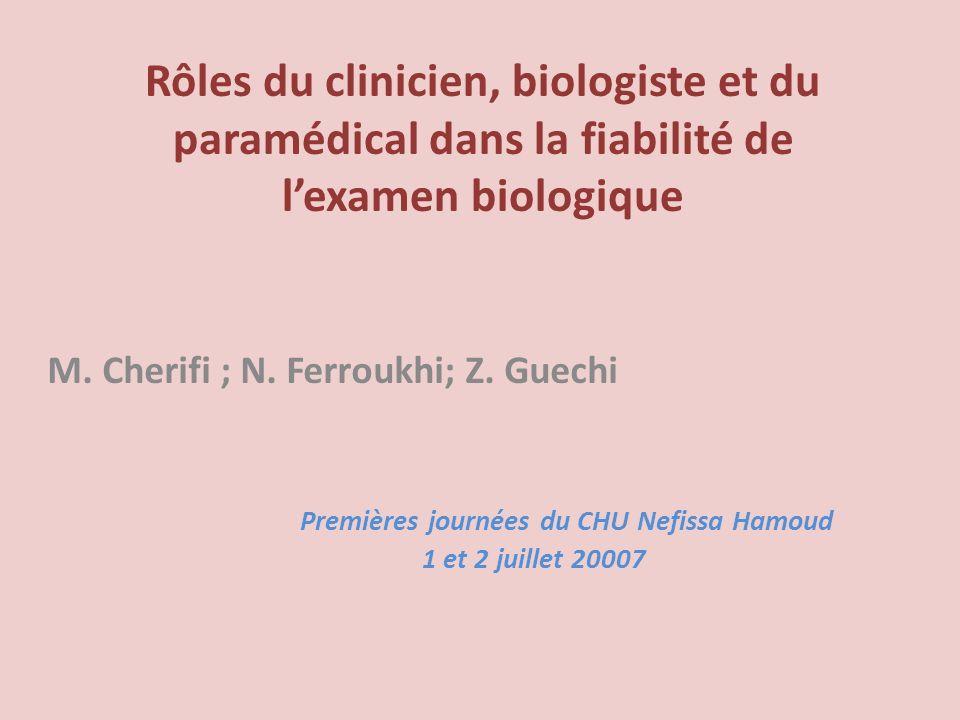 Rôles du clinicien, biologiste et du paramédical dans la fiabilité de l'examen biologique
