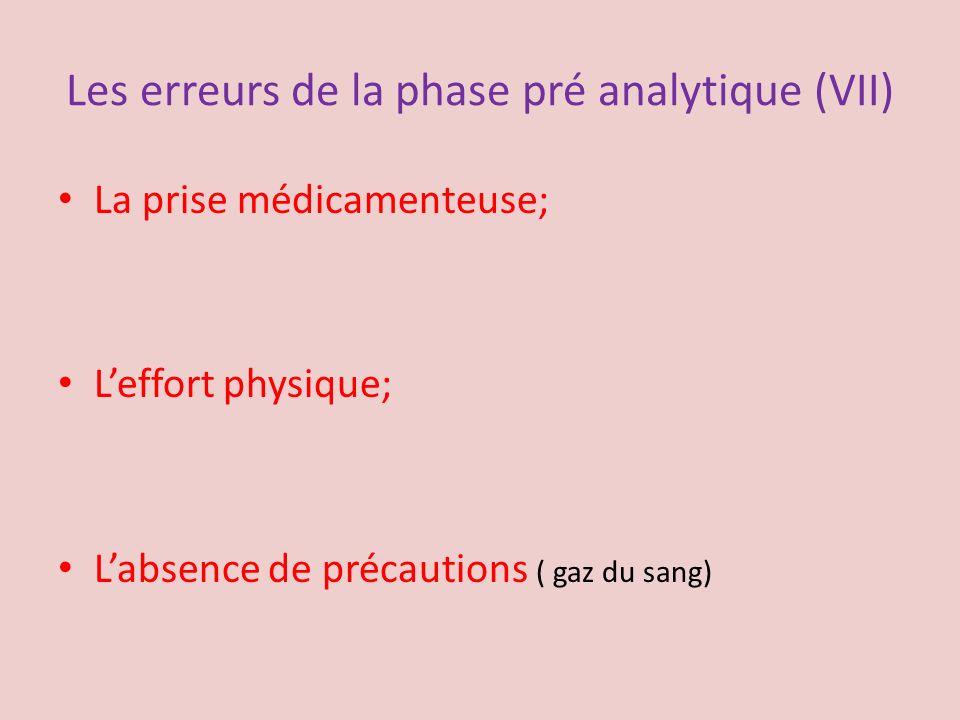 Les erreurs de la phase pré analytique (VII)