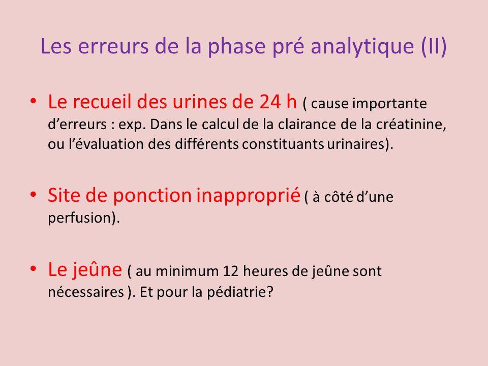 Les erreurs de la phase pré analytique (II)