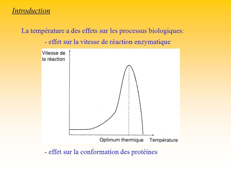 Introduction La température a des effets sur les processus biologiques: - effet sur la vitesse de réaction enzymatique.