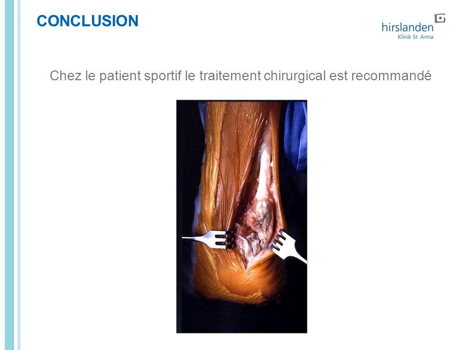CONCLUSION Chez le patient sportif le traitement chirurgical est recommandé Seite Titel Lauftext