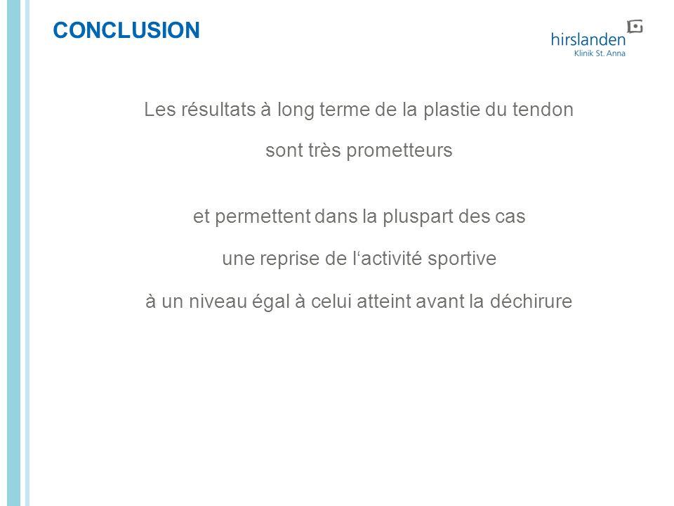 CONCLUSION Les résultats à long terme de la plastie du tendon