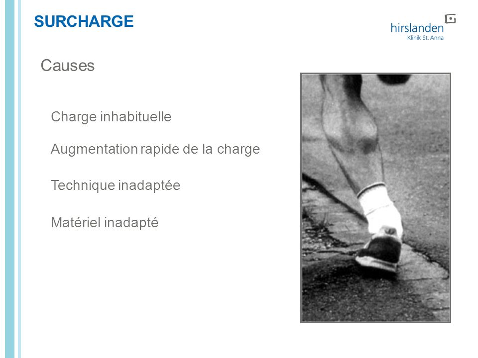 Causes SURCHARGE Charge inhabituelle Augmentation rapide de la charge