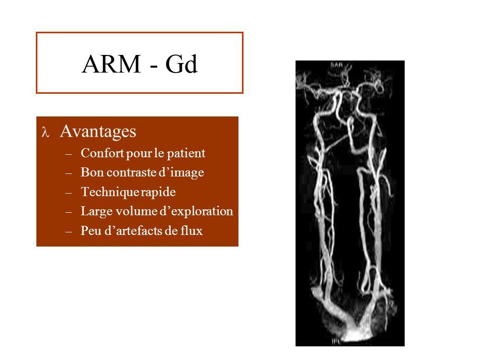 ARM - Gd Avantages Confort pour le patient Bon contraste d'image