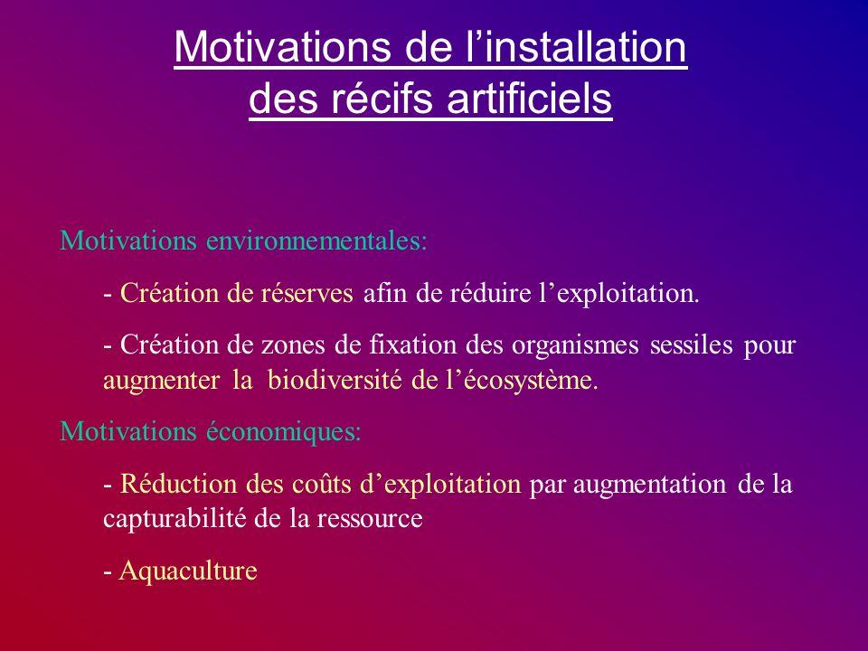 Motivations de l'installation des récifs artificiels