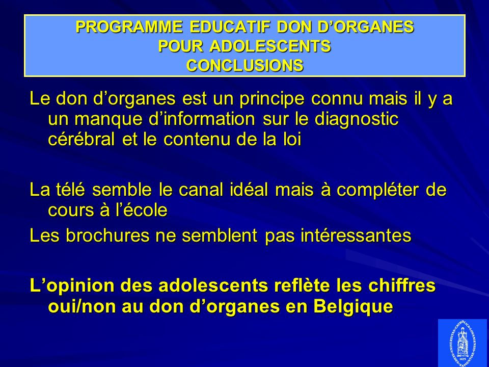 PROGRAMME EDUCATIF DON D'ORGANES POUR ADOLESCENTS CONCLUSIONS