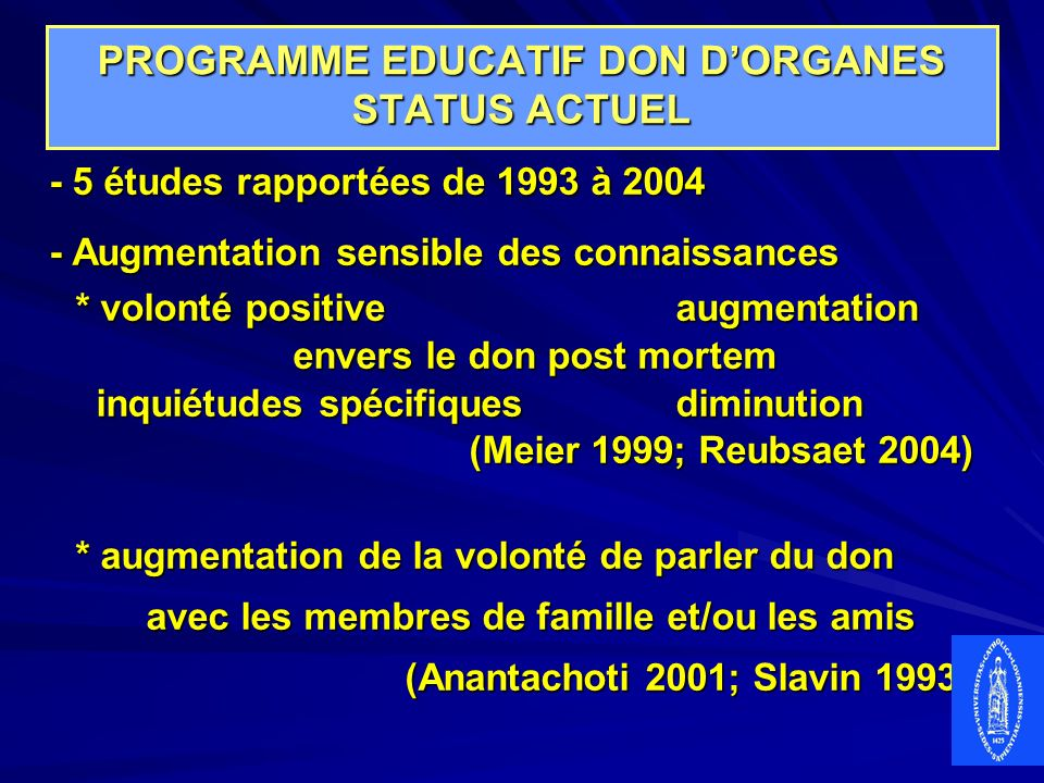 PROGRAMME EDUCATIF DON D'ORGANES STATUS ACTUEL