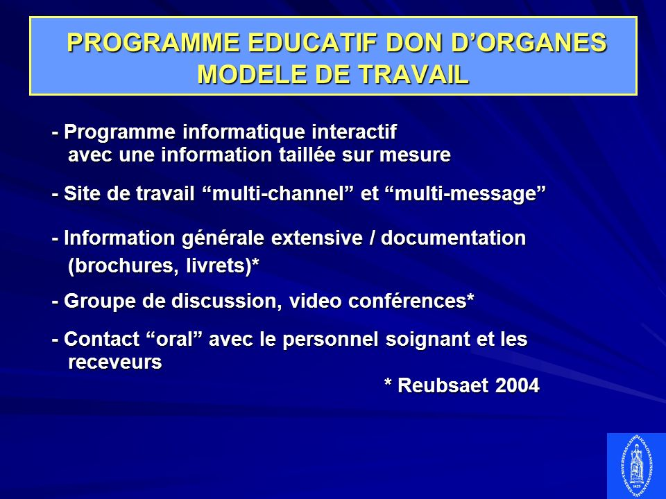 PROGRAMME EDUCATIF DON D'ORGANES MODELE DE TRAVAIL