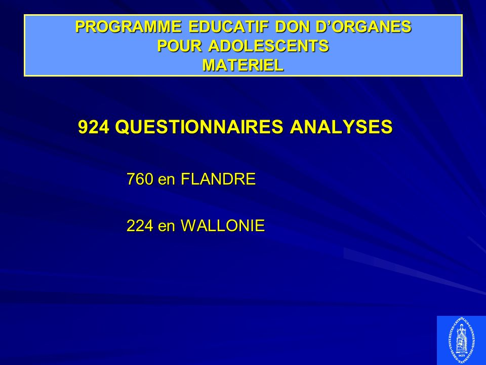 PROGRAMME EDUCATIF DON D'ORGANES POUR ADOLESCENTS MATERIEL