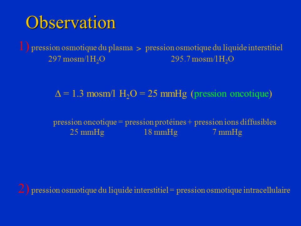 Observation 1) pression osmotique du plasma > pression osmotique du liquide interstitiel. 297 mosm/l H2O 295.7 mosm/l H2O.
