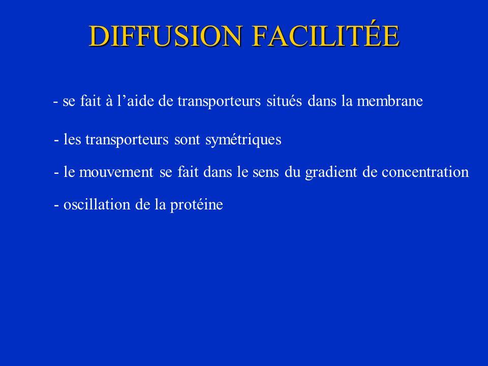 DIFFUSION FACILITÉE - se fait à l'aide de transporteurs situés dans la membrane. - les transporteurs sont symétriques.