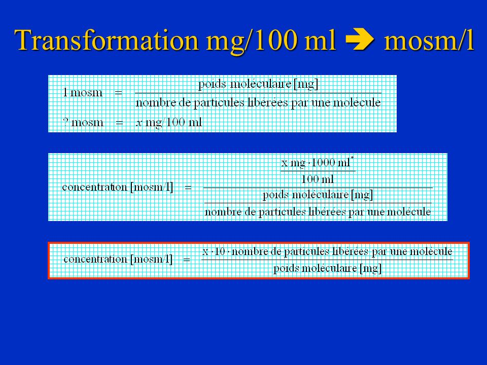 Transformation mg/100 ml  mosm/l