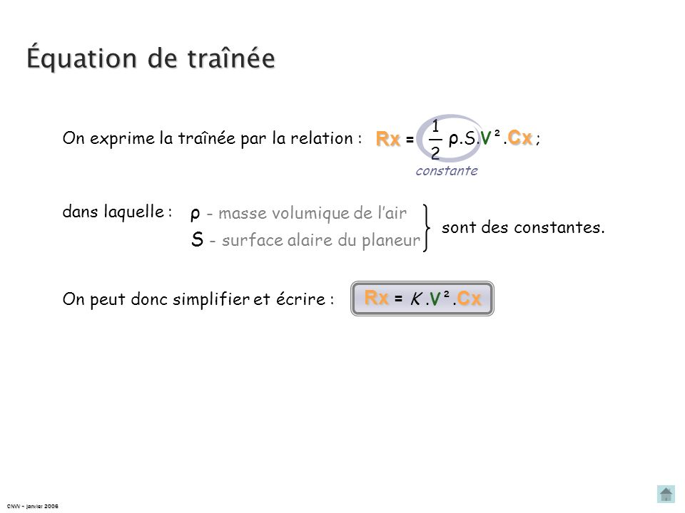 Équation de traînée Rx = ρ.S.V².Cx ; ρ - masse volumique de l'air
